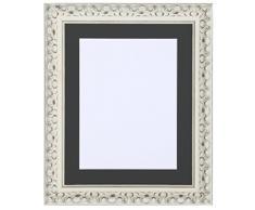 Tailored Frames Cornice da – Vienna Range, finemente vintage shabby chic e cornici per foto in bianco cornice con passepartout nero, 70 x 50 cm per 61 x 40,6 cm