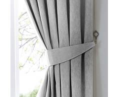 Fusion Dijon Plain Texture Coppia di fermatenda, Silver, 65 x 0.1 x 1 cm