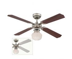 Westinghouse 7826640 Ventilatore a Soffitto Portland Ambiance El, Metallo, 60 watts, Peltro Nero