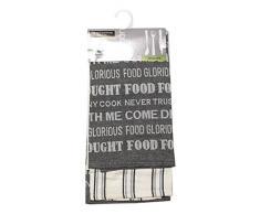Soleil dOcre 712023 Food -Strofinacci in cotone jacquard, 50 x 70 cm (Confezione da 2), Cotone, Grigio, 50 x 70 cm