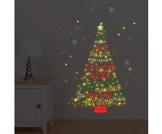 Walplus COM-WS4027 Francese Citazione Albero di Natale / WS3036 Luna e le Stelle Luminoso,Vinile,Multicolore,24 x 35 x 20 Cm