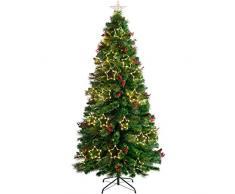 WeRChristmas - Albero di Natale Misto in Fibra Ottica con luci a LED Calde, Verde, 7 ft/2.1m