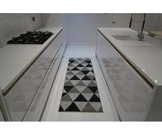 Tappeto antiscivolo in lavatrice con chiave greca, triangolare, design a diamanti, per soggiorno, cucina, colore: nero, grigio, 120 x 160 cm, Triangolo grigio, 80x300cm(26 x910)