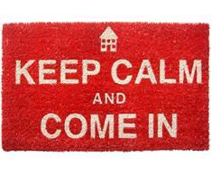 Zerbino Entryways 43 x 71 cm, in Fibra di Cocco con Rivestimento Antiscivolo in PVC, Scritta Keep Calm