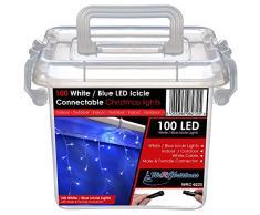 WeRChristmas 2.2 m gomma Luci String cavo 100 collegabile Natale Icicle LED con 2 Pin Maschi e fermaglio, blu / bianco