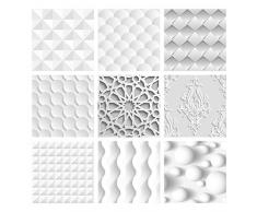Wall Genie Piastrelle adesive, 30 Pezzi, in Vinile, 150 mm x 150 mm, 3D 8