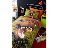 Dinosauro T-Rex bambini trapunta copripiumino e 2 federa set di biancheria da letto, Dino verde, doppio