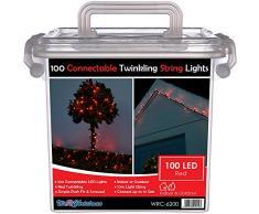 WeRChristmas 10 m di cavi in gomma 100 collegabile scintillanti di Natale LED luci della stringa 2 Pin Maschi e Connettore femmina, Rosso