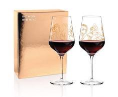 RITZENHOFF - Set di calici da vino rosso di Burkhard Neie (Pan & Selene | Zeus & Leda), in cristallo da 583 ml, con vero oro