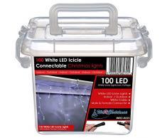 WeRChristmas 2.2 m gomma Luci String cavo 100 collegabile Natale Icicle LED con 2 Pin Maschi e Connettore femmina, bianco