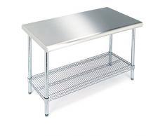 Seville Classics tavolo carrello da cucina professionale di taglio in acciaio INOX, Acciaio, Chrome, 125 x 61 x 90 cm
