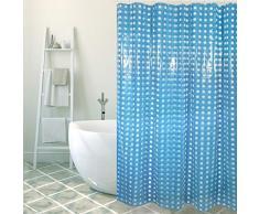 Tenda della Doccia in PVC MSV 141.050 Scuro Anello di plastica Blu Include 12 al Bar 180 x 200 x 0,1 cm
