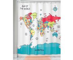 InterDesign Novelty Poly Tende per doccia in tessuto impermeabile, Tenda vasca da bagno in poliestere con motivo a mappamondo, variopinto