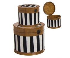 Dcasa Set di 2 scatole portaoggetti a Righe per Decorazioni Festive e Articoli per la casa, Unisex, per Adulti, Colore: Unico