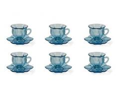 Villa DEste Home Tivoli 5901345 Glass Set 6 tazzine c/piattino Blu, Vetro