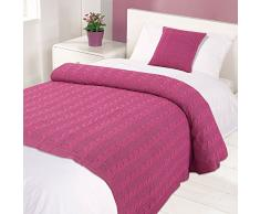 Highams da letto in tessuto a maglia di cotone, , motivo: viole del pensiero rosa, singolo, 125 x 150 cm