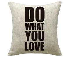 Lo+DeModa Do What You Love Fodera per Cuscino, 100% Cotone, 45x45x0.2 cm