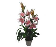 Orchidea artificiale a foglia, rosa, 90 cm