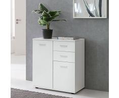 Wohnling - Comò SVENJA con Ante e cassetti, 71 x 78 x 35 cm, in Legno, Stile Moderno, Colore: Bianco