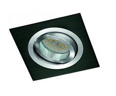 CristalRecord Helium - Kit di faretto da incasso, quadrato, portalampade e lampadina, GU10, 7 W, luce neutra, 4200° K, colore nero