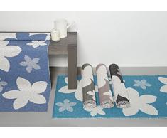 Fibra sintetica moquette esterna per la casa e il giardino, lavabile. Stile: HORREDSMATTAN fiore turchese 70x250 cm