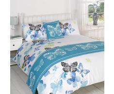 Dreamscene Polilla copripiumino biancheria da letto in una borsa cuscino runner, blu/bianco/nero, doppio