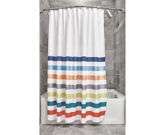 iDesign Tende per Doccia Design a Righe, Tenda per Vasca da Bagno x 183,0 cm in Poliestere, Bianco/Multicolore