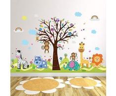 wallflexi decalcomanie da parete rimovibile adesivi murali Happy Hills & Zoo autoadesiva, nursery Kindergarden scuola bambini, baby room decoration, multicolore