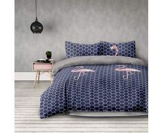 AmeliaHome - Biancheria da letto, motivo geometrico, copripiumino in microfibra con chiusura lampo, collezione Basic Flamingo Dark antracite grafite rosa, Microfibra, Flamingo Dark, 200x200 + 2*80x80