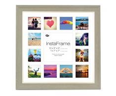 Inov Agosto 16 x 40.64 cm cornici mosaico Instaframe foto per Instagram 13 / piazza e foto in bianco con bianco opaco con bordo, 2 unità , lavare a grigio scuro