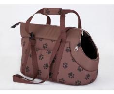 Hobbydog borsa da trasporto per cani e gatti, taglia 1, colore: marrone chiaro con zampe stampa