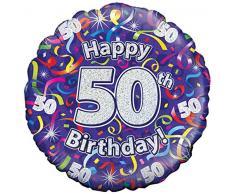 Oaktree UK da 18 pollici 50 ° compleanno Fiamme olografica design Palloncini, multi-colore