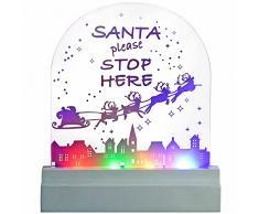 WeRChristmas-Babbo Natale Please Stop Here Targa LED Decorazione Natalizia, Acrilico, Multicolore,