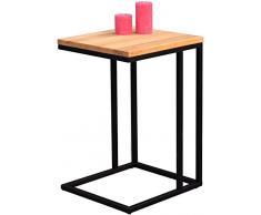 HomeTrends4You 587117 tavolino, seghetto, legno di faggio/nero opaco, 38 x 43 x 63 cm