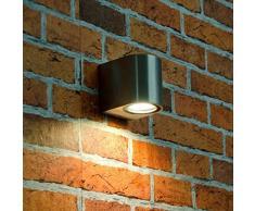 Compatto esterno della parete della lampada Aalborg in acciaio inossidabile/1Â X GU fino a 35Â W 230Â V IP44/Resistente alle intemperie/Faretto da parete della lampada per la parete di casa cortile giardino
