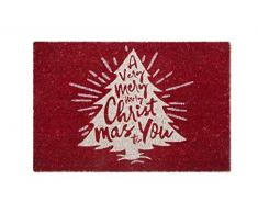 Excelsa Merry Christmas Zerbino Ingresso, Fibra di Cocco, Rosso, 40 x 60 cm