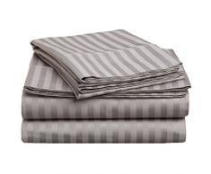Superior - Set di lenzuola doppie 96 x 203 cm, da 5 pezzi, in cotone genuino a 300 fili, tasche profonde, singolo capo, righe in raso, grigio