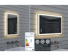 Lux Design specchio da bagno con dimmer, caldo e freddo bianco e interruttore touch 40 x 60 cm