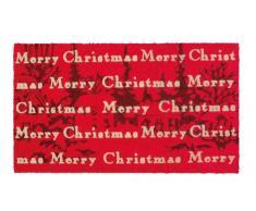 SHOE-MAX, Zerbino in Fibra di Cocco con Retro in PVC Antiscivolo, Motivo: Merry Christmas, 74 x 44 cm, Rosso