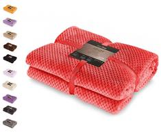 DecoKing- Coperta in Microfibra, Pile Morbido, Tessuto, 170 x 210 cm, Rosso