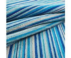 Yorkshire Fabric Shop Esclusivo Tessuto Morbido in ciniglia, Tessuto a Strisce tappezzeria Cuscini Tende divani Tessuto Blu Bianco. Perfetto per mobili Arredamento