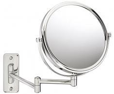 Sanwood 6650700.0 Bea Specchio Cosmetico 1: Vista, Specchio da parete, ingrandimento 5 X, in metallo, cromato, 31.0 x 23.3 x 3.8 cm