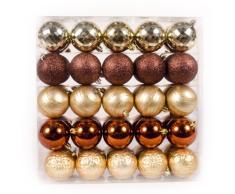 WeRChristmas - Confezione di 50 Palline assortite per Albero di Natale, Colore: Marrone/Oro