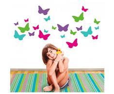 MYVINILO - adesivi murali per bambini - Butterflies garden / magenta / lilla / menta / verde chiaro