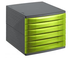 Rotho 1108105519 cassetti Box scatola da ufficio Quadra in plastica (PS), 6 cassetti chiusi, formato A4, di alta qualità, circa 37 x 28 x 25 cm, antracite/verde ufficio Box, plastica, 27 x 28 x 25 cm