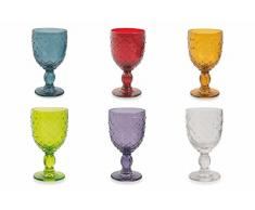 Villa d'Este Home Tivoli 2416394 Rombi Set 6 Calici da Vino, Vetro, Colori Assortiti