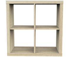 Furniture 247 - Scaffale a 2 ripiani (con 4 mensole a cubo) in rovere naturale