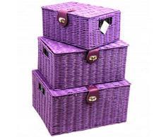 Arpan, cestino intrecciato in resina, con coperchio e sistema di blocco, 3 pezzi, colore viola