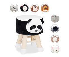 Relaxdays Panda - Sgabello Decorativo per Bambini, con Rivestimento Rimovibile, Gambe in Legno, Imbottito, Colore: Nero/Bianco