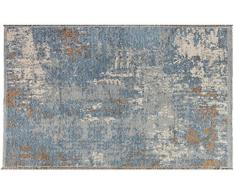 Tappeti di design by Homemania Tappeto Double Face Halimod 23, Misto Cotone, Marrone/Blu, 38.0x38.0x4.0 cm
